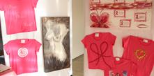 Exposição de camisetas decoradas Outubro Rosa